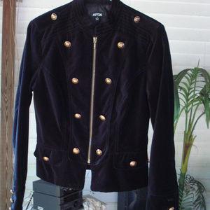 Velvet Military style Black Jacket lined 6 / 8